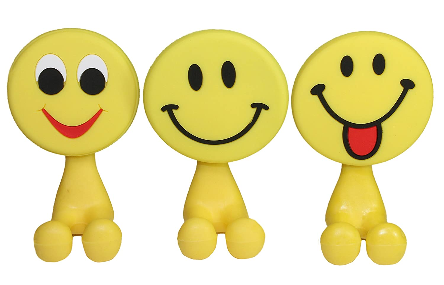 Lucore Happy Smiley Face Toothbrush Holder & Utility Suction Hook - Set of 3 Pcs Emoji Emoticon Style Rubber Wall Hanger Hooks Lucore Home SYNCHKG116992