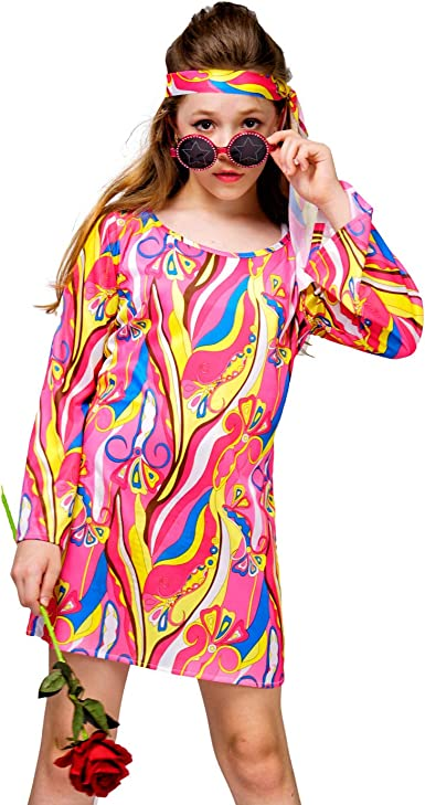 VIVE KIDS Retro 70s BOHO HIPPIE GYPSY Indian Psycadelic DRESS sz 5 6 New RAD