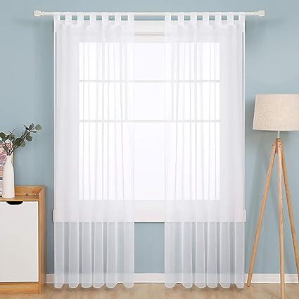 Deconovo Transparent Gardinen Wohnzimmer Voile Vorhang Schlaufenschal  8x8 cm Weiß 8er Set, Stoff, 8x8