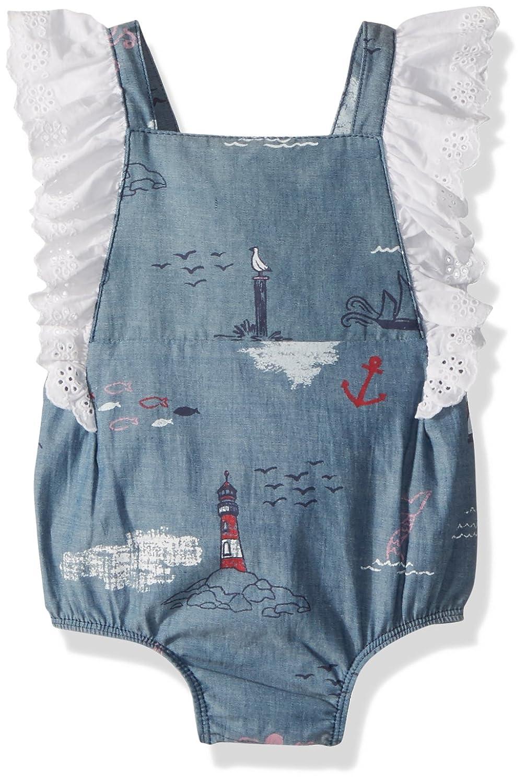 Mud Pie Baby Girls Nautical Ruffle Sleeve One Piece Bubble Playwear