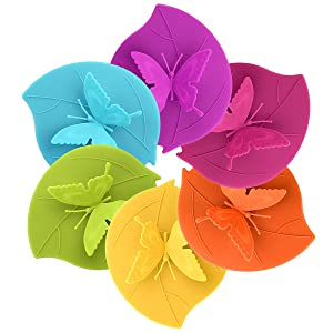 ME.FAM Forever Butterfly,set of 6 Pack in Different Color,diy Covers,food-grade Silicone Drink Covers,6-pack,spillproof,leakproof,keeps Beverages Hot or Cold, Silicone Cup Lid, Cup Cover