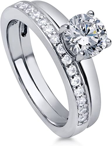 BERRICLE Sterling Silver Round CZ Solitaire Engagement Wedding Ring Set