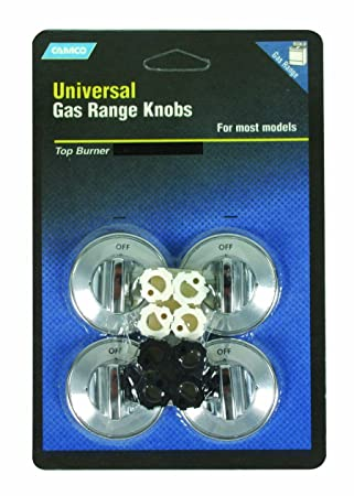 Camco 00963 Gas Range Knobs - Top Burner (Chrome)