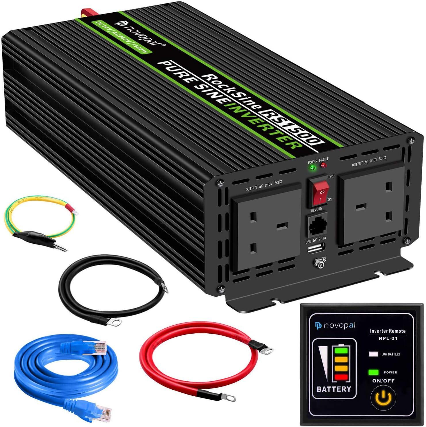 Inversor de corriente onda sinusoidal pura, 1500 W, 24 V CC a 230 V/240 V CA, convertidor de 2 salidas AC para coche con un puerto USB, mando a distancia de 5 metros y dos ventiladores de enfriamiento