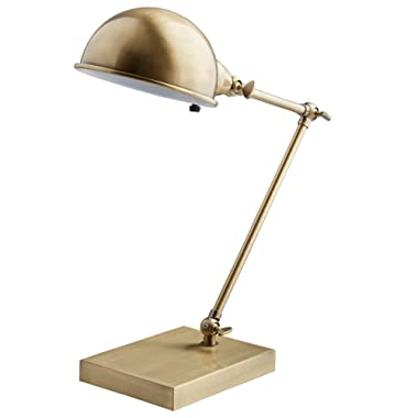 Stone & Beam Vintage Task Lamp With Bulb, 14 H, Antique Brass