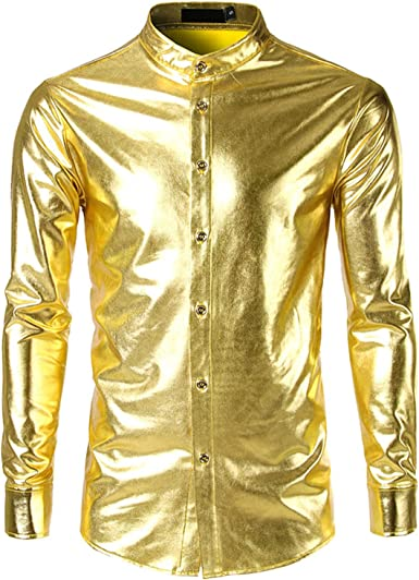Lu Studio Camisa para Hombre metálica, Color Dorado - - US XX-Large: Amazon.es: Ropa y accesorios