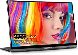 """Portable Touchscreen Monitor - AZMIOR 10-Point Touch Screen, 15.6"""" FHD 1920x1080 HDR Gaming Freesync IPS Frameless Computer Display with Gravity Sensor, Dual USB C, HDMI for Laptop, PS4, Xbox, Switch"""
