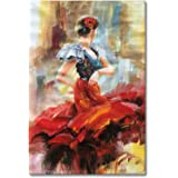 Seekland Art Hand painted Lady Dancing with Red Dress Abstract Canvas Wall Art Impression Oil Painting Modern Contemporary Artwork Fine Pictures Unframed (2436 inch)