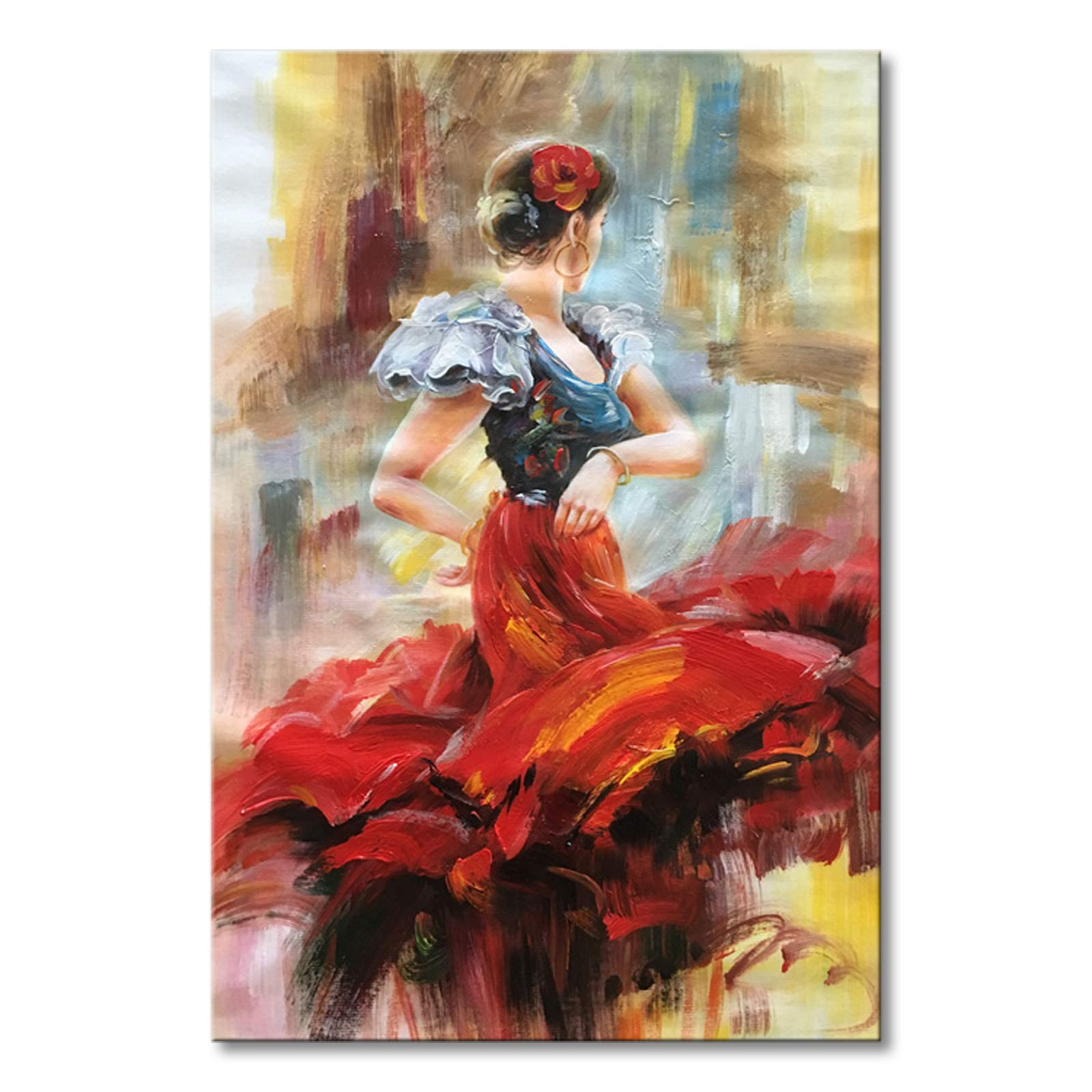 Seekland Art Hand painted Lady Dancing with Red Dress Abstract Canvas Wall Art Impression Oil Painting Modern Contemporary Artwork Fine Pictures Unframed (2024 inch)