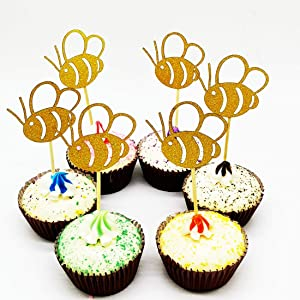 Paity 48Pieces Glitter Bumble Bee Cupcake Toppers Cupcake Toppers for Bumble Bee Gender Reveal Baby Shower Birthday Party Decor
