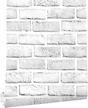 Happyhome 3d Thickened Grey White Brick Stone Contact Paper Wallpaper 17 7 X 236inch Peel Stick Wall Paper Self Adhesive Waterproof Oil Proof Decorative Removable Stickers For Bathroom Bedroom Furniture Wallpaper Amazon Canada