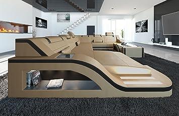 Sofa Dreams Xxl Wohnlandschaft Palermo Xxl Sandbeige Schwarz Amazon