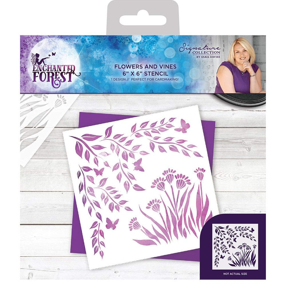 Sara Davies Signature Collection - Enchanted Forest - Stencil - Flowers and Vines Crafters Companion S-EF-STEN-FAV