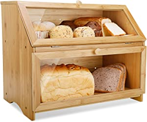 Double Layer Bread Box for Kitchen Large Bamboo Capacity Food Storage