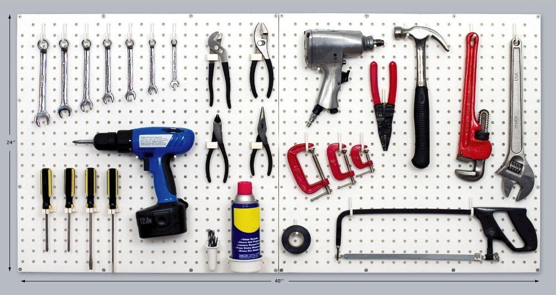 PEGBOARD PANELS by WallPeg - Peg Board Plastic Pegboard Kit 24''x24'' (12, White) by WallPeg (Image #1)