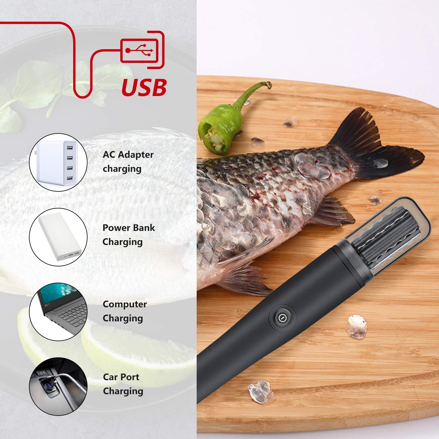 Black Electric Fish Scaler POWERAXIS Waterproof Fish Scalers Clean Fish Remover Cleaner Descaler Scraper Seafood Tools Fast Fish Skin Remove Kitchen Tool