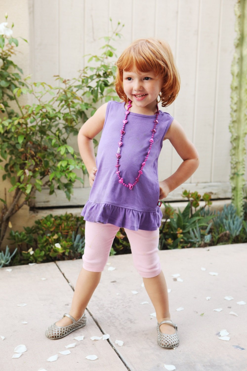 City Threads Little Girls' Cotton Cropped Capri Legging for Summer, Play and School, Medium Purple, 4T by City Threads (Image #2)