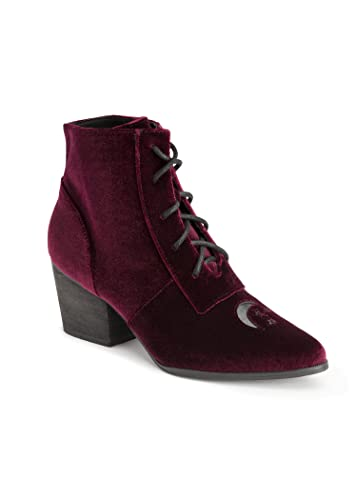 709a6fe673a Y.R.U. Womens Witchy Stars and Moon Aura Burgundy Velvet Ankle Boot – Size 7