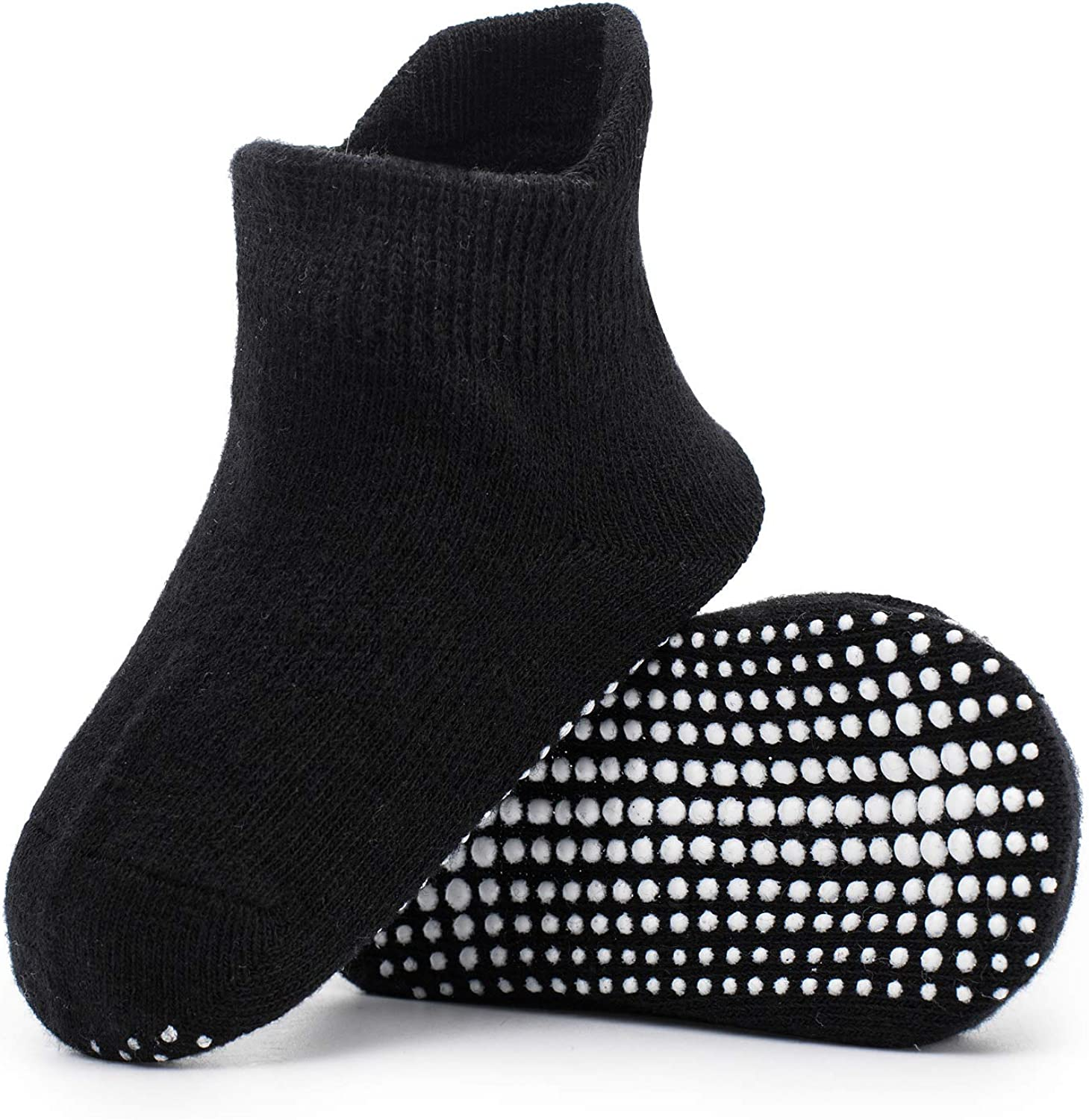 Zaples Baby Non Slip Grip Ankle Socks with Non Skid Soles for Infants Toddlers Kids Boys Girls