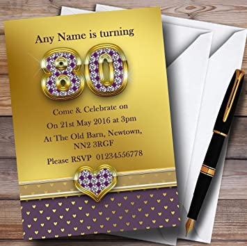 10 X Gold Satin And Purple Hearts 80Th Customized Birthday Party Invites