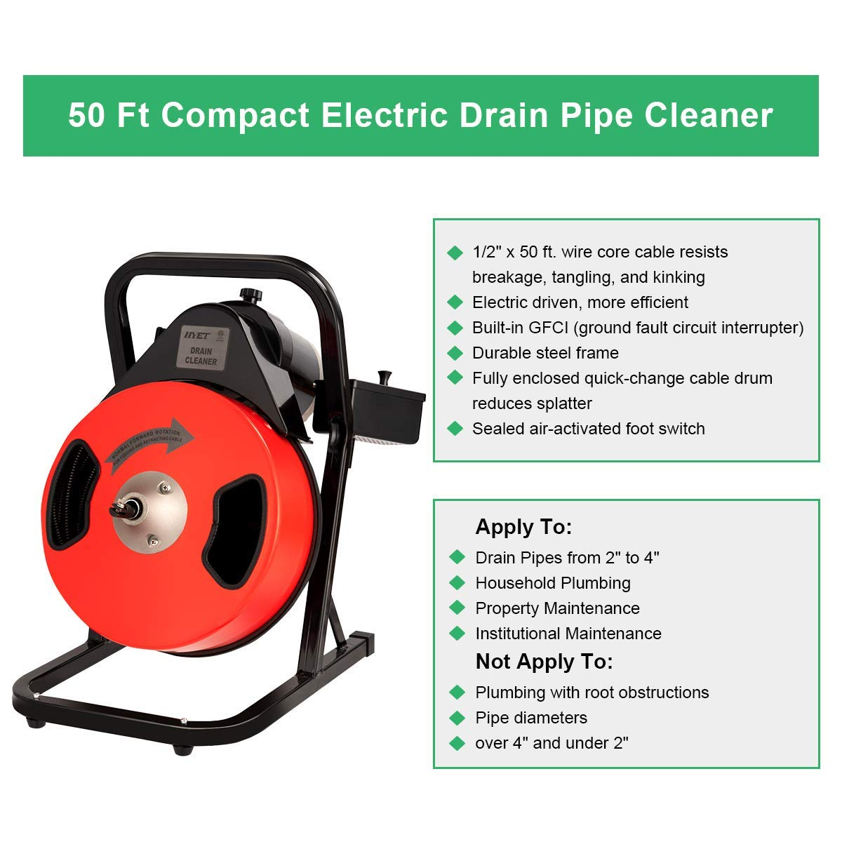 Cheap Goplus Electric Drain Pipe Auger Cleaner 50 Ft 1 2