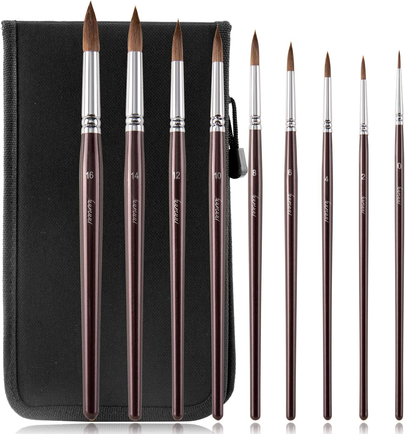 Fuumuui Sable Hair Watercolor Brushes Round Pointed Paint Brushes 9pcs Premium Sable Hair Artist Brushes for Watercolor Gouache Acrylic Ink Painting