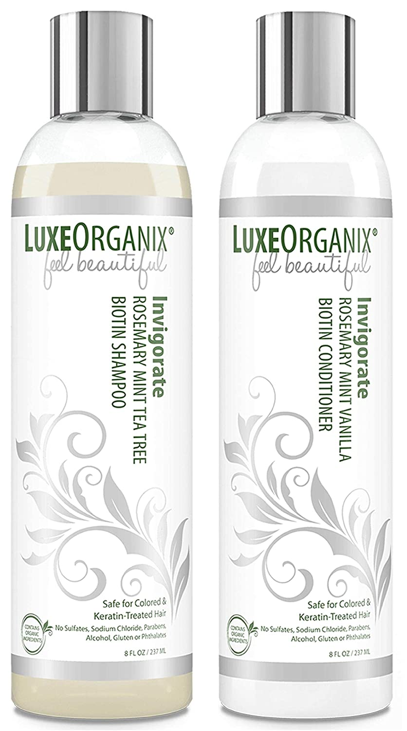 Biotin Organic Shampoo and Conditioner: Safe for Color Treated and Keratin Hair Treatments. Natural Mint, Tea Tree and Rosemary Oils for Healthier Growing Hair and Scalp. For All Hair Types. (USA)