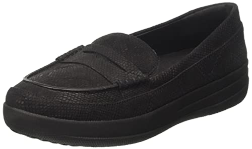 F-Sporty Penny Loafer, Mocasines para Mujer, Negro (Black Snake-Embossed 394), 41 EU FitFlop