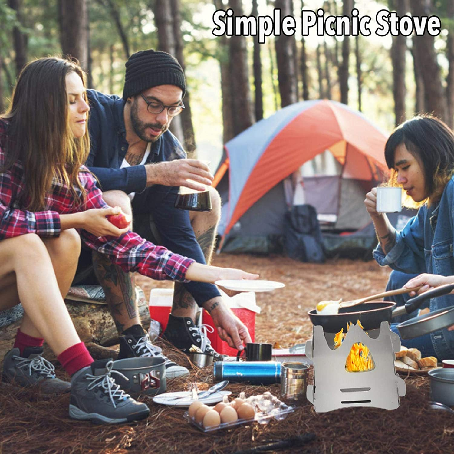 OrangeC Portable Picnic Stove Camping Stove Lightweight Stainless Steel Wood Burning Stove Suitable for Camping Cooking Picnic Backpacking Outdoor