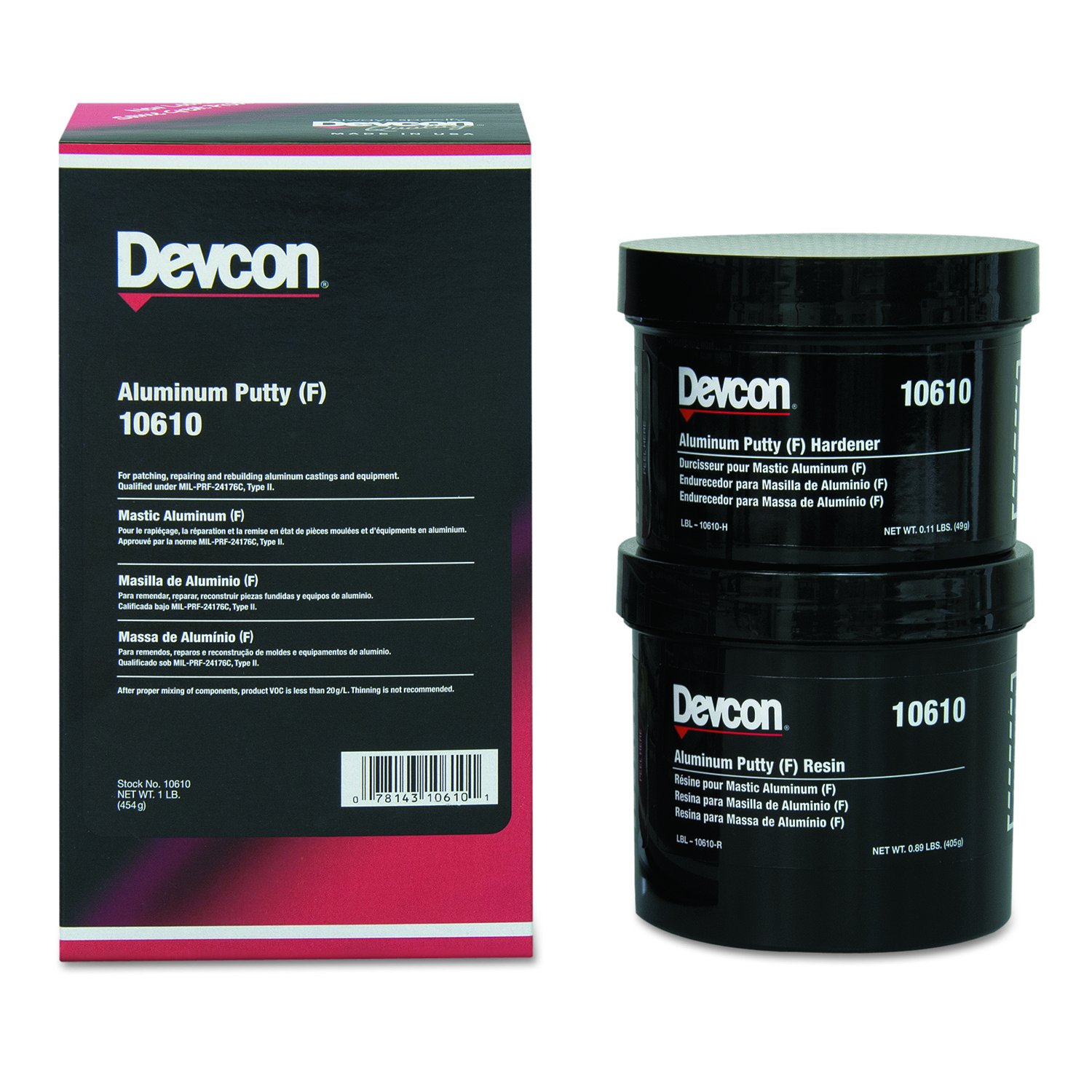Devcon 10610 Aluminum Putty (F), 1 lb. Can 230-10610