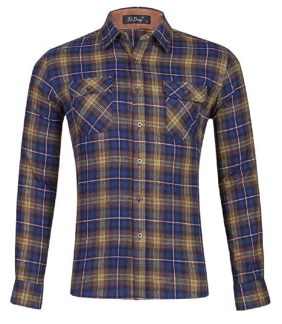 Rrive Men Plaid Cotton Casual Long Sleeve Loose Fit Button Down Dress Shirt