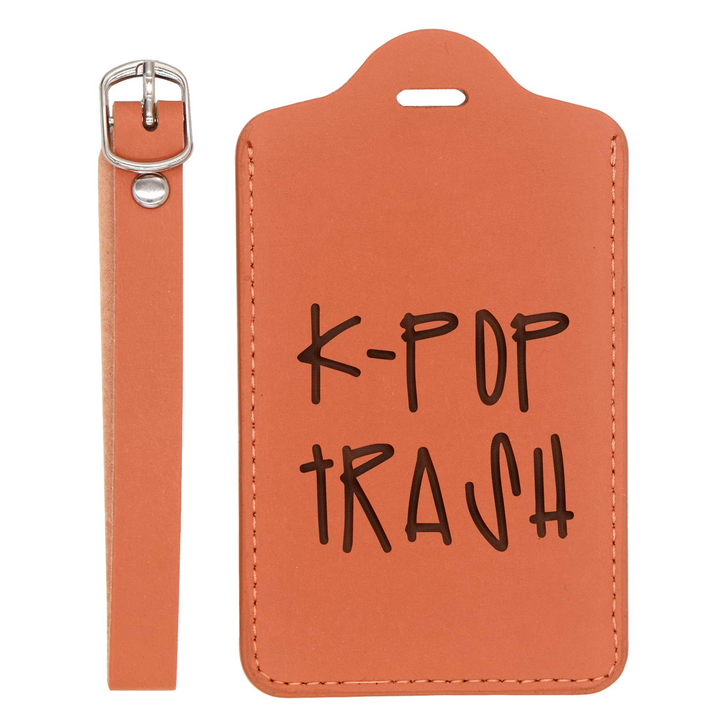 Hallyu Kpop Kpop Trash Engraved Synthetic Pu Leather Luggage Tag - United States Standard London Tan - Set Of 2 For Any Type Of Luggage Handcrafted By Mastercraftsmen