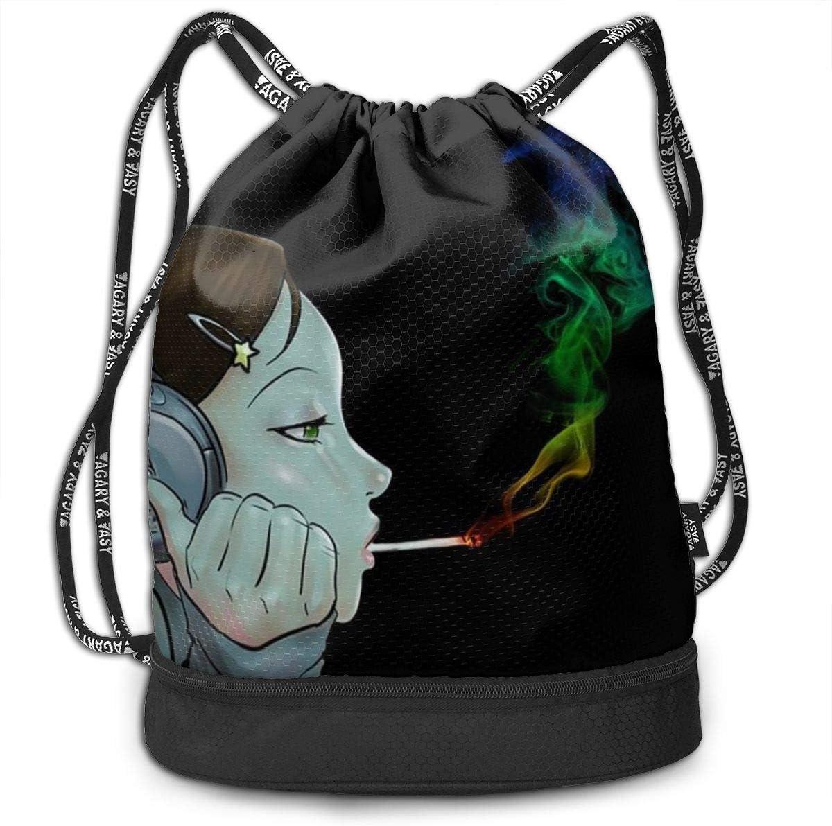 GymSack Drawstring Bag Sackpack Rebellious Girl Sport Cinch Pack Simple Bundle Pocke Backpack For Men Women