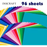 "Inscraft 96 Sheets Premium Permanent Self Adhesive Vinyl Sheets, Double of 48 Pack 12"" x 12"" Assorted Colors with 6 Transfer Paper Sheets for Craft Cutters, Cricut, Silhouette Cameo Machines"