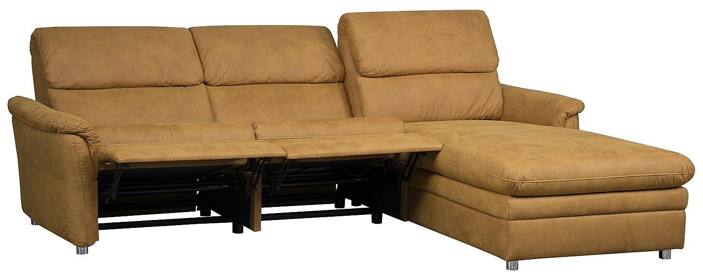 Cavadore 526 Polsterecke Chalsay, 3-Sitzer mit Relaxliner und Kopfteilverstellung links, Longchair rechts, 252 x 94-123 x 177, Cruze mustard 520
