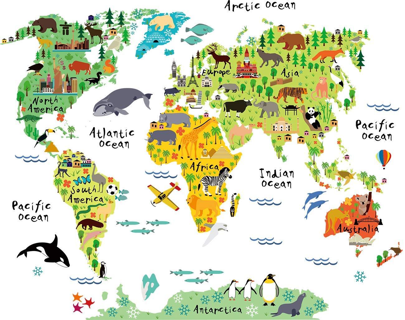 SELUXU Ni/ños educativos de Animales de los mapas del Mundo Mapa de Pared calcoman/ías Pegatina Casa Decor Arte decoraci/ón para vivero