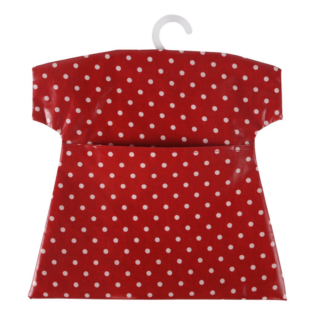 (Polka Dots Wine Red) - Neoviva Waterproof Clothespin Peg Bag with Plastic Hanger, Polka Dot Wine Red B00LXOVF1K Polka Dot Wine Red