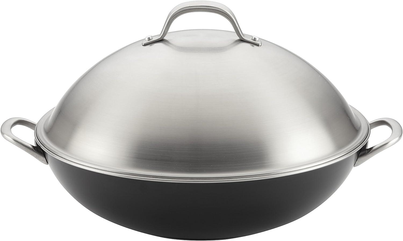 Circulon Ultimum Nonstick Stir Fry Wok Pan with Lid, 13.75 Inch, Black