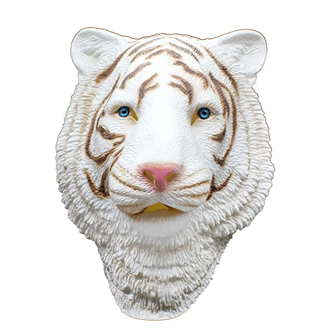 PartyCostume - Tigre Blanco - Latex Mascara De Halloween Mascara De Cabeza De Animal Bosque Bestia: Amazon.es: Juguetes y juegos