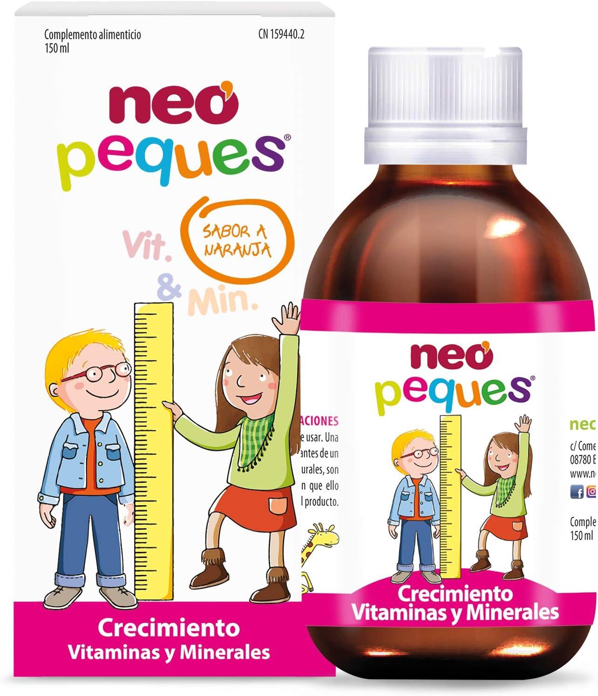 Neo Peques | Jarabe Infantil para Niños Crecimiento Fuerte y Sano 150 ml | A Base de Vitaminas y Minerales | Tomar 0,5 ml/kg de Peso Corporal | Dosis ...