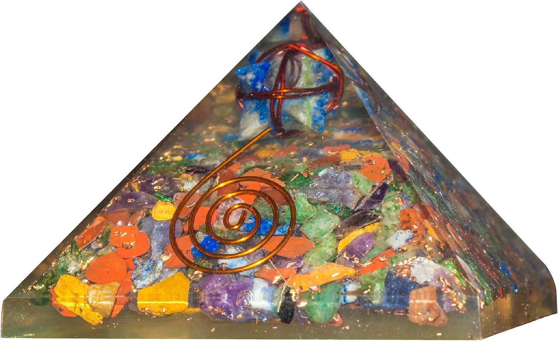 PYOR Mix Chakra Orgone Pyramid with Lapis Lazuli Merkaba Wrapped Copper Wire Energy Generator Reiki Healing Chakra Balancing Aura Cleansing Home Office Decor Gift Item Size 2.5-3 Inch