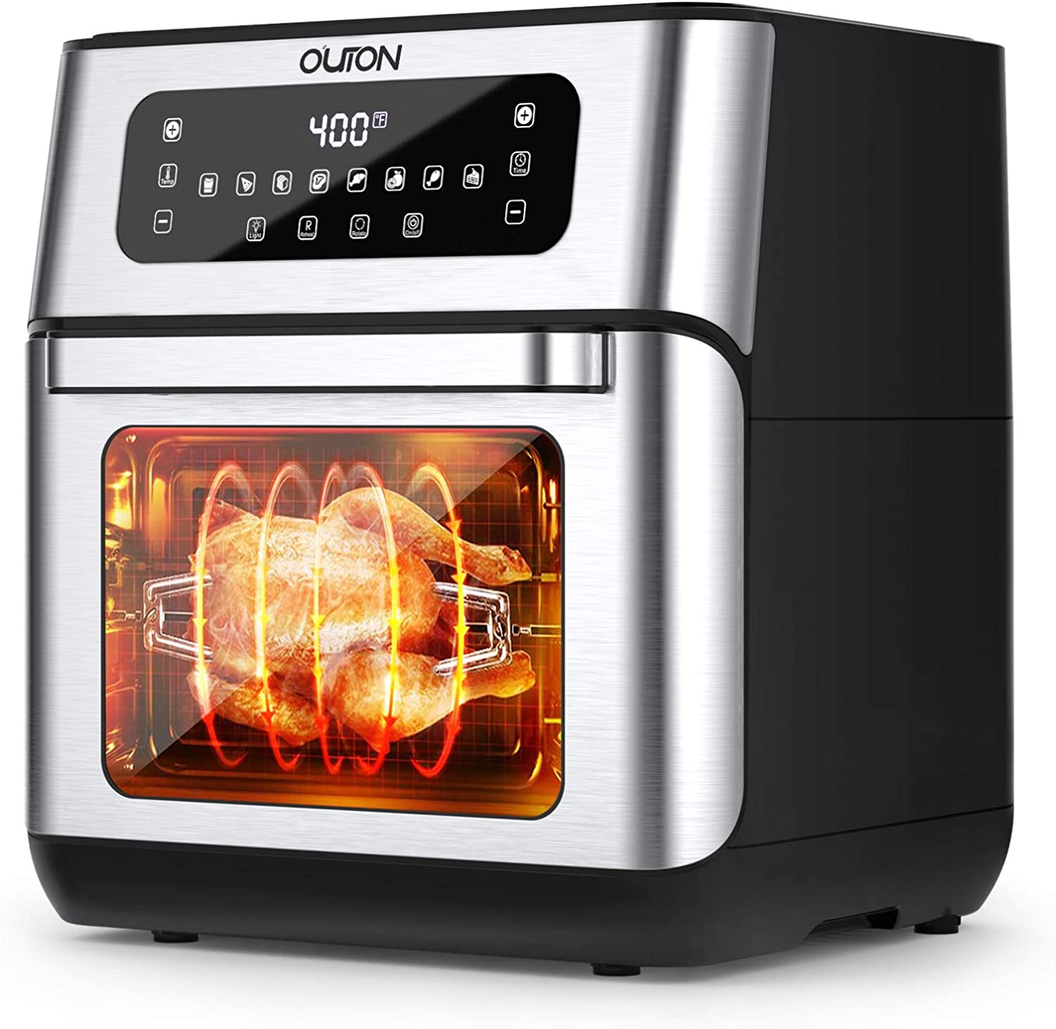 Outon 8-in-1 Air Fryer Toaster Oven 10.6 Quart, 1500W Convection Roaster with Rotisserie, Dehydrator, Pizza, Bakes & Reheats Function, Digital LCD Touch Screen, Auto Shut Off, Nonstick Easy Clean