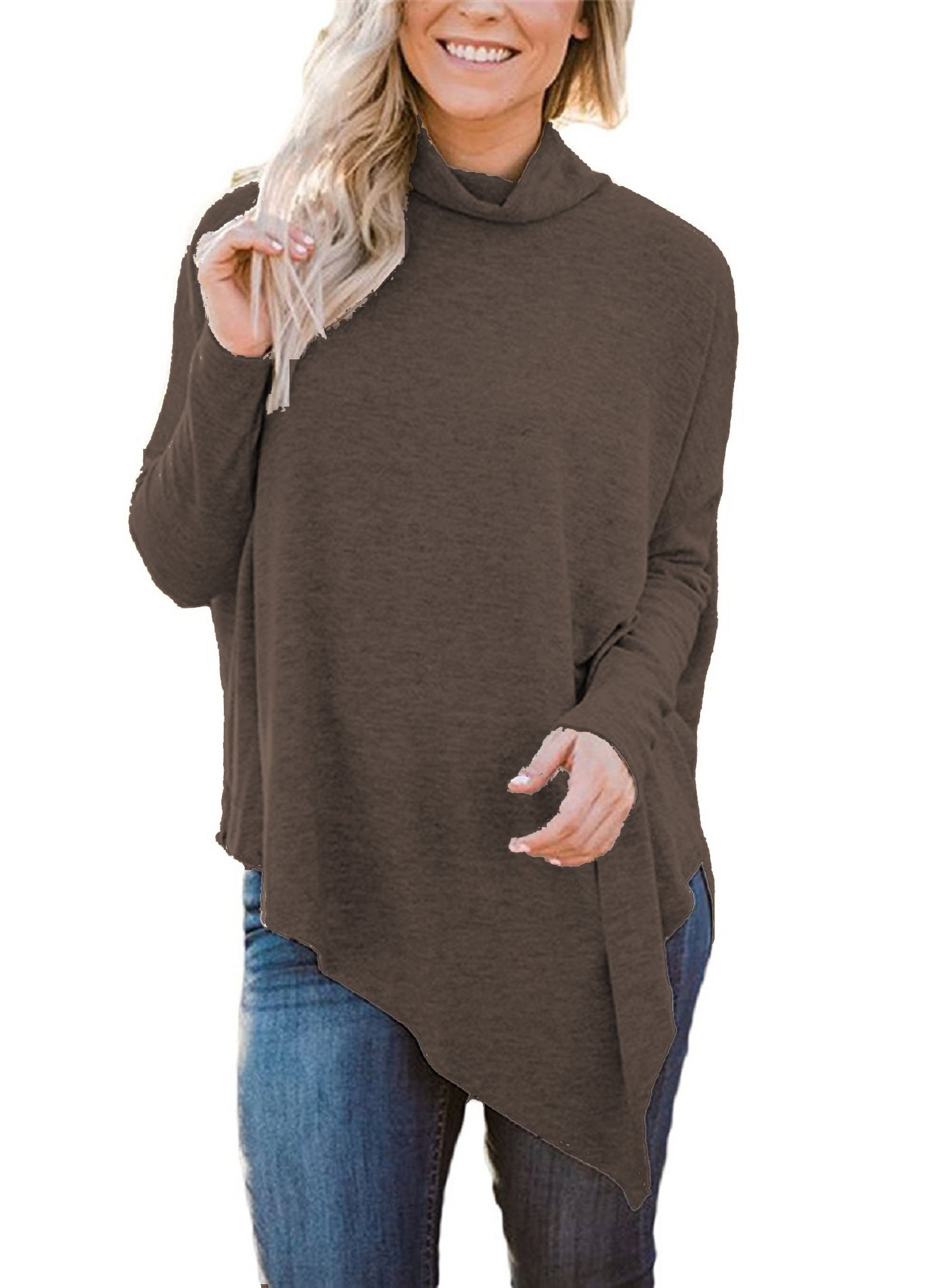 Hount Women's Casual Batwing Tunic Top Long Sleeve Plus Size Sweater (Small, Coffee)