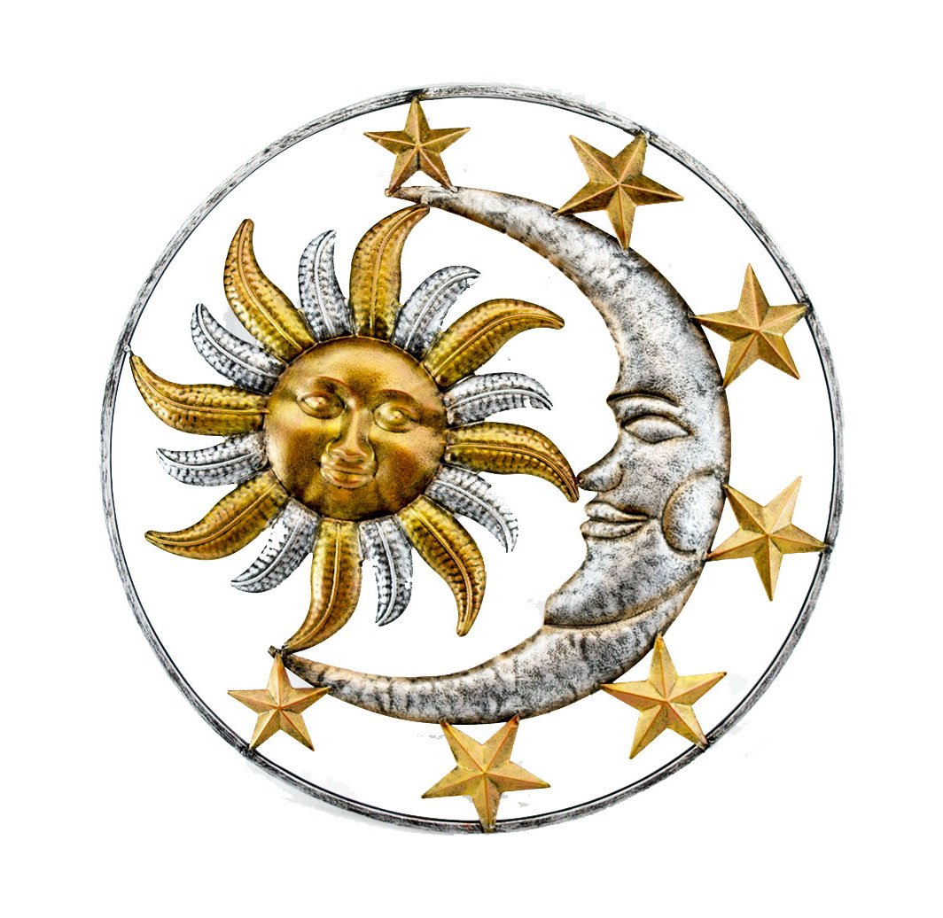 Zeckos Metal Wall Sculptures Celestial Sun Moon and Stars Indoor/Outdoor Metal Wall Sculpture 17 X 17 X 0.13 Inches Orange