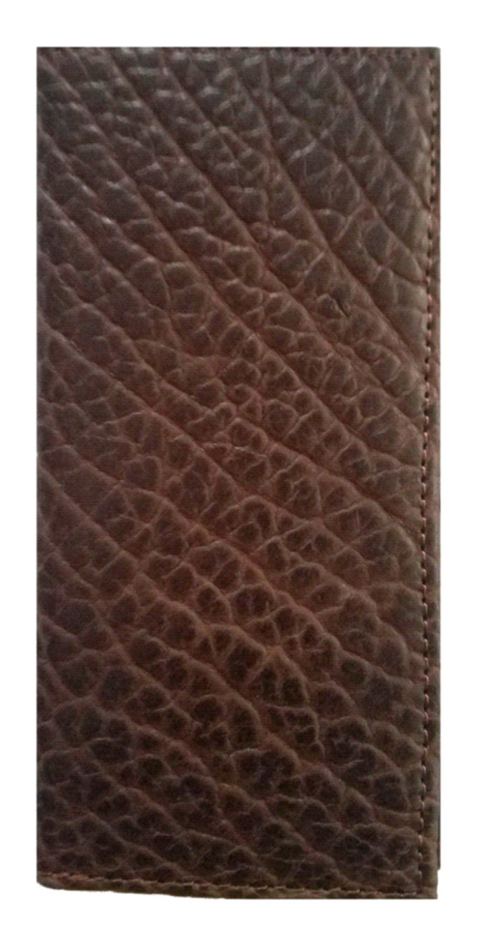 Rugged American Buffalo Hide Long Chocolate Brown Checkbook Wallet. Proudly MADE IN THE USA