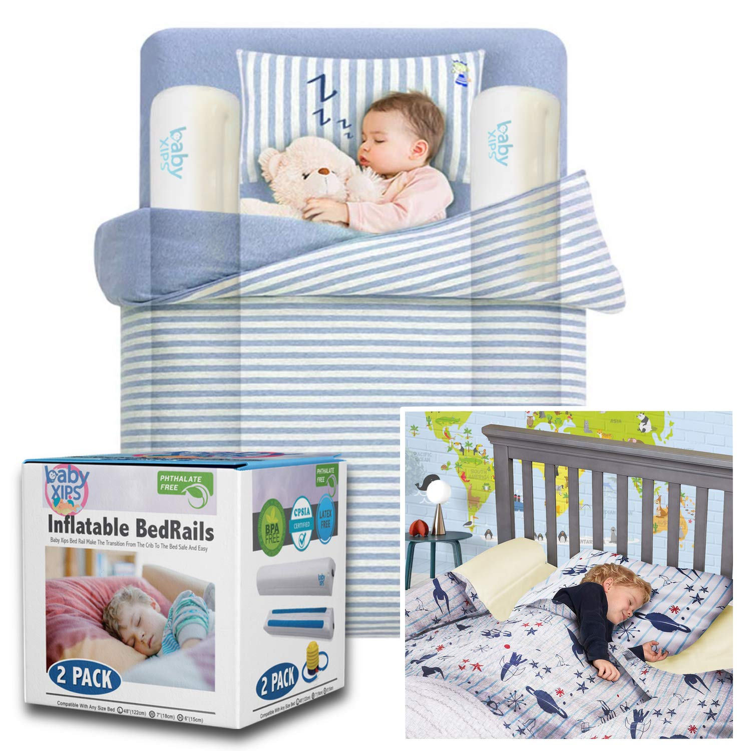 Bed Bumpers for Toddlers by Baby Xips - Inflatable Toddler B
