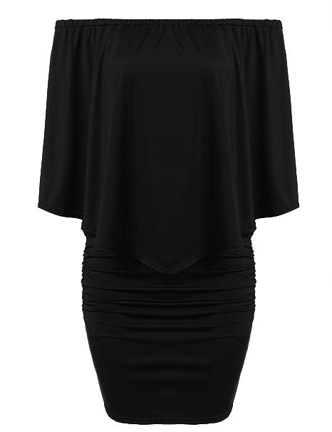 e7686a64d46 ACEVOG Women s Off Shoulder Ruffles Slim Bodycon Party Clubwear Sexy  Bandage Dress