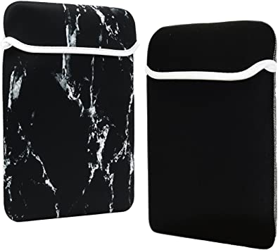 """13-Inch White Marble Reversible Sleeve Bag for 13/"""" Macbook //Air//Pro// Chromebook"""