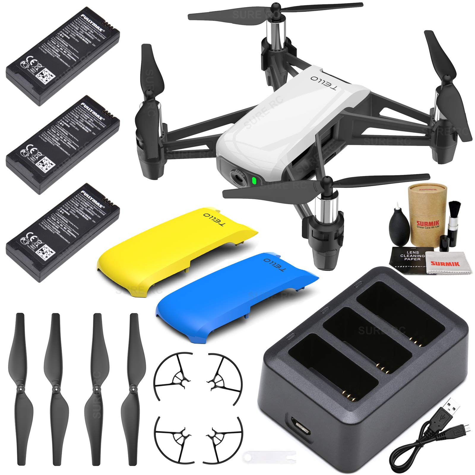 Tello Drone Quadcopter Boost Combo with 3 Batteries, Charging Hub, Yellow &  Blue Snap-On Covers and More | 10Drones