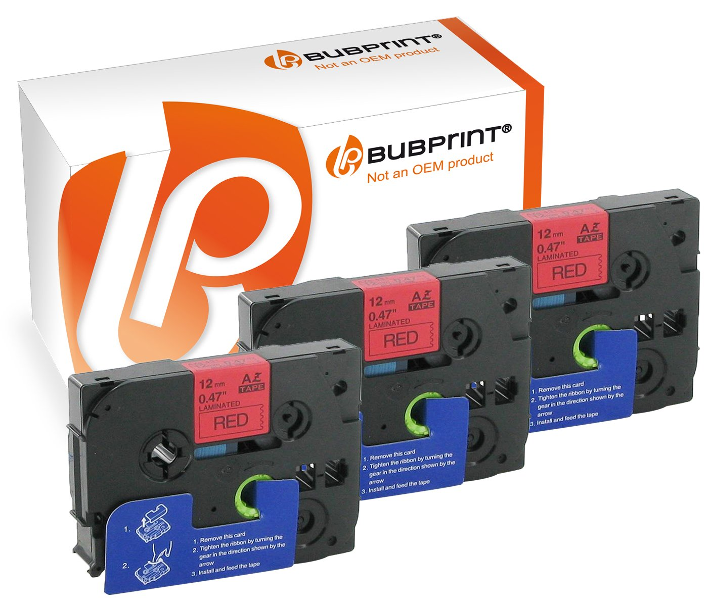 Bubprint 3 nastro a cassetta compatibile per Brother TZe-431 TZ-431 e P-Touch 1000 1005 1010 1080 1090 PT-P900W H75 H105 H500 D210 GL200 nero su rosso